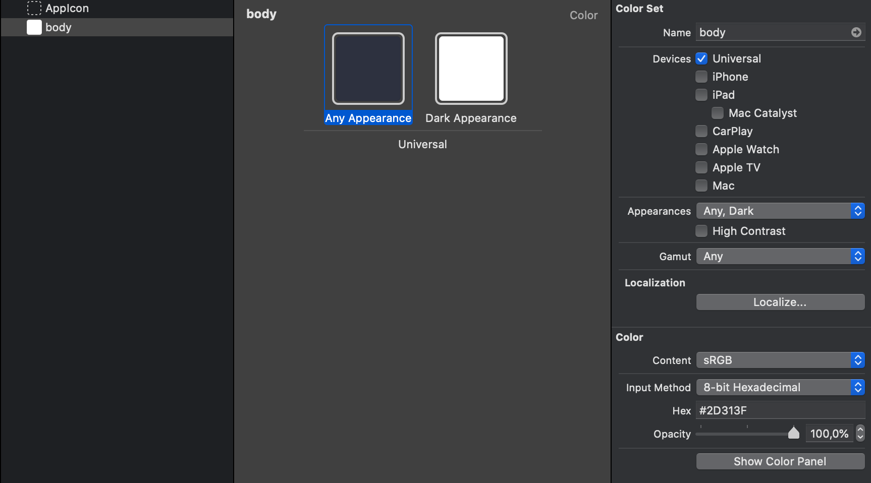 Adding a SwiftUI adaptable color for dark mode